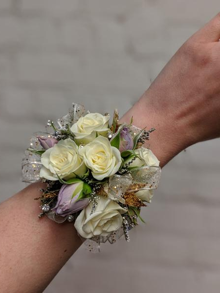 Spray Rose Corsage with Lavender and Gold Accents
