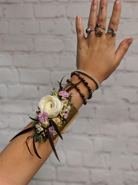 Ranunculus and Wildflower Corsage on Cuff