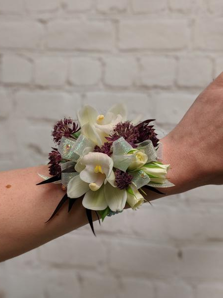 Orchid Corsage with Burgundy Accents