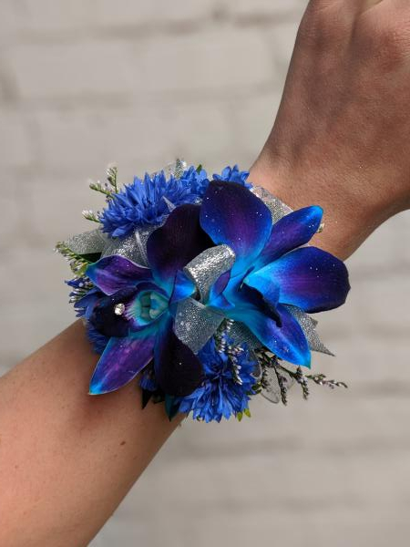 Blue Orchid and Centurea Corsage