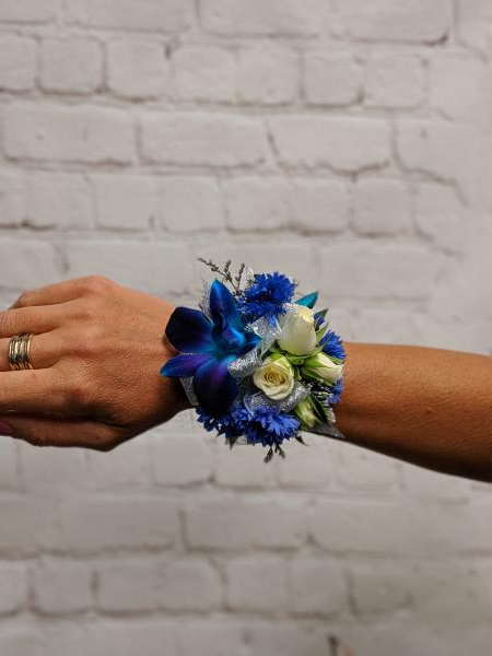 Blue Orchid, Centurea and White Spray Rose Corsage