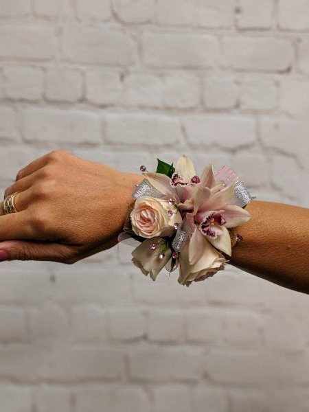 Blush Orchid and Spray Rose Corsage