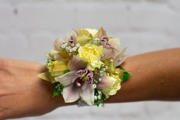 Mini Cymbidium Orchid with Lemon and Gold Accents