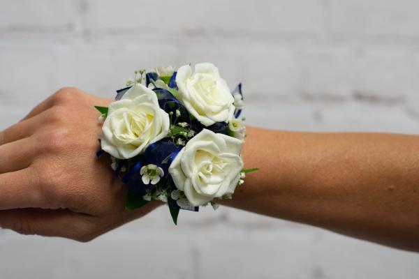 Spray Rose Corsage with Navy Trim