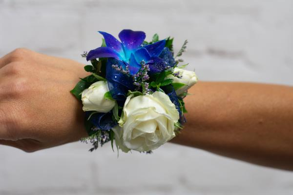 Blue Orchid and Spray Rose Corsage