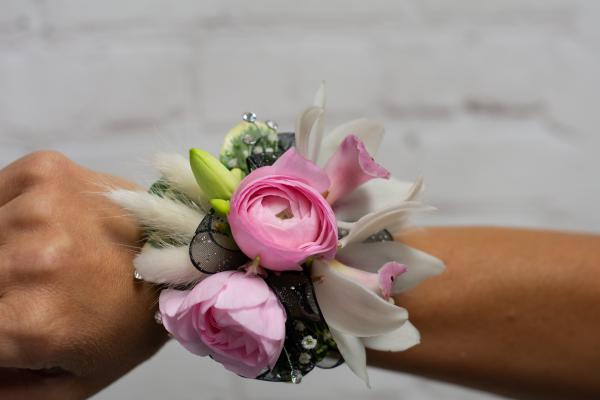 Pink Ranunculus and Orchid Corsage