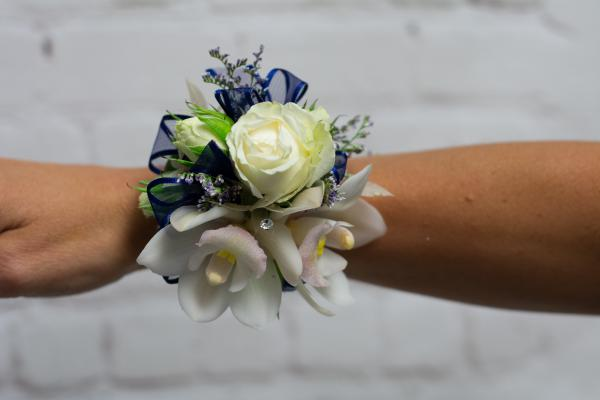 Orchid and Spray Rose Corsage - Navy Trim