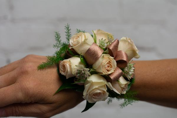 Spray Rose Corsage with Rose Gold Accent