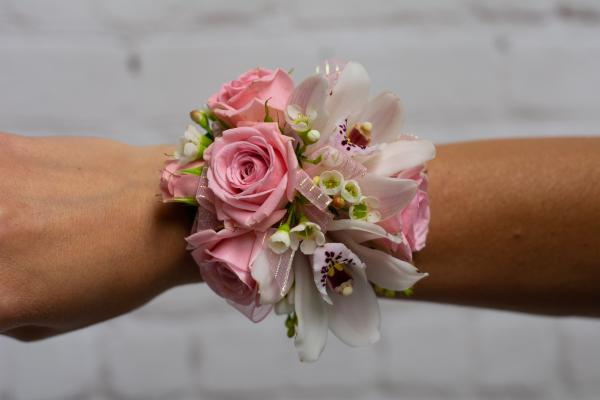 Pink Spray Rose and Orchid Corsage