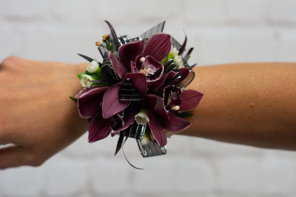 Burgundy Orchid Corsage