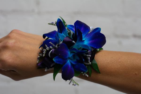 Blue Orchid Corsage - Purple Trim