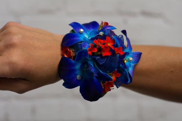 Blue Orchid Boutonniere - Orange Accents