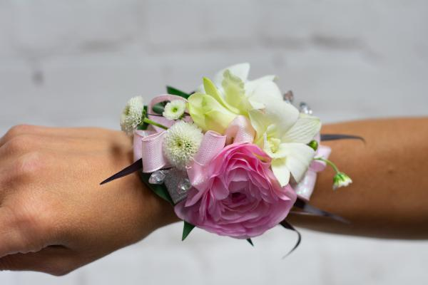 Ranunculus and Orchid Corsage