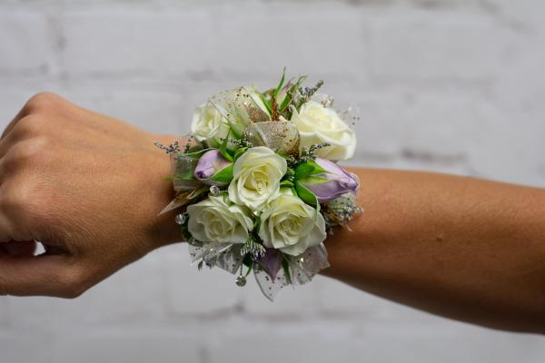 White and Lavender Spray Rose Corsage