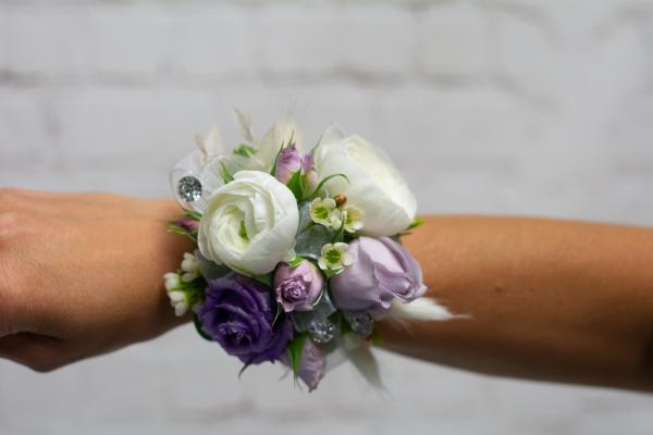 Ranunculus and Lavender Spray Rose Corsage