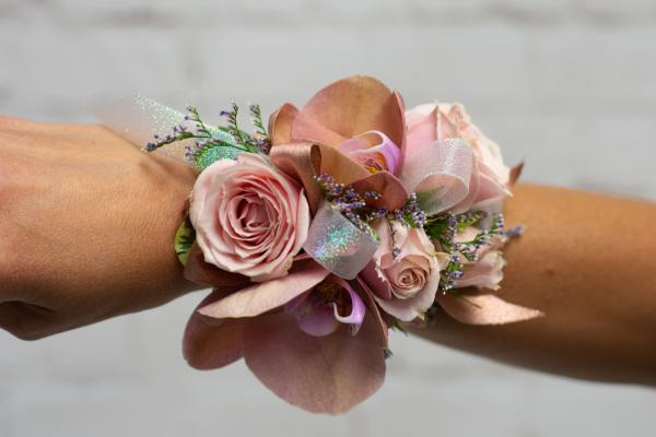 Phalaenopsis Orchid and Blush Spray Rose Corsage