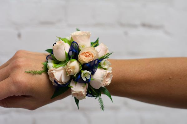 Jana Spray Rose with Navy Accent Corsage