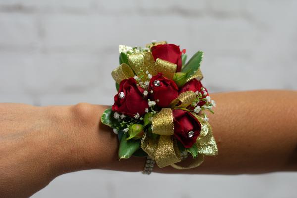 Red Spray Rose Corsage - Gold Trim